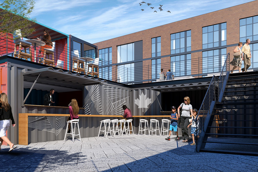 Developer starts construction on delayed project with cutting-edge container architecture in Munster